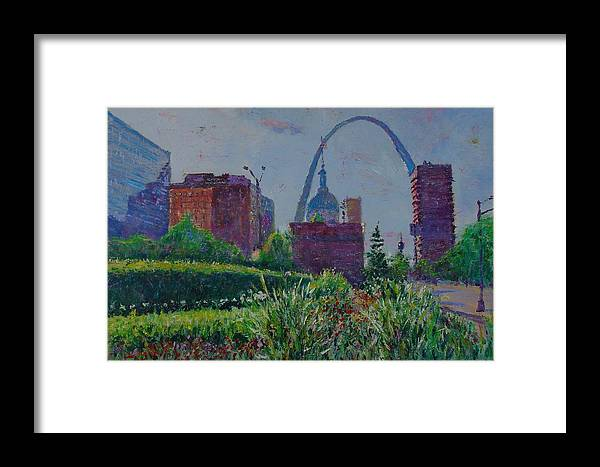 Cityscape Framed Print featuring the painting Downtown St. Louis Garden by Horacio Prada