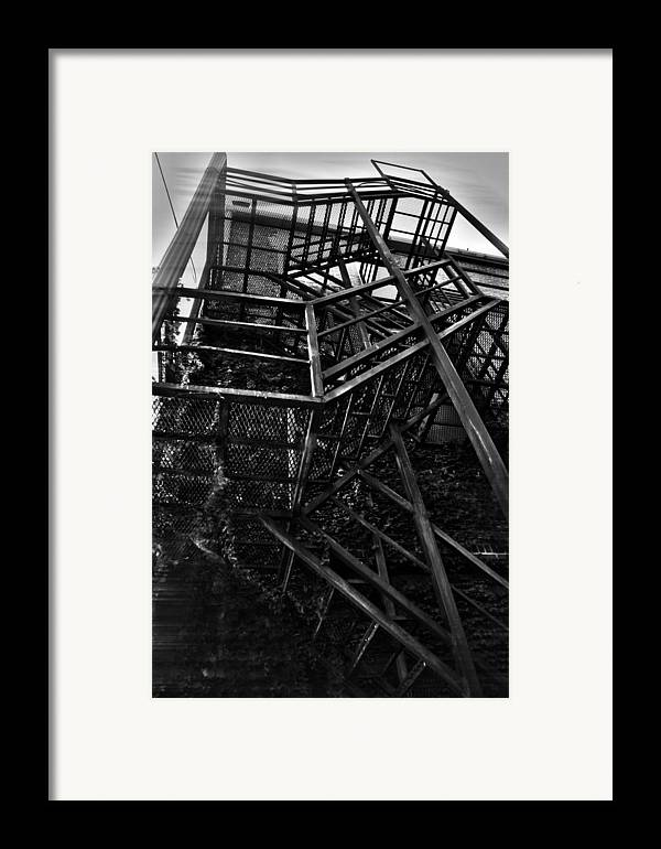 Black And White Photograph Framed Print featuring the photograph Downtown Stairs by Kenal Louis