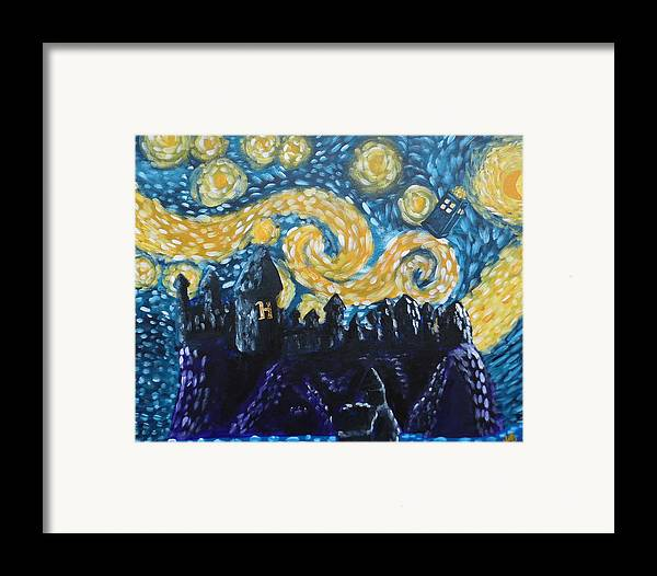 Fandom Framed Print featuring the painting Dr Who Hogwarts Starry Night by Jera Sky