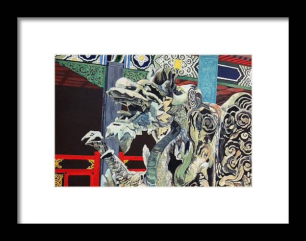 Dragon Framed Print featuring the painting Dragon by Alice Burger