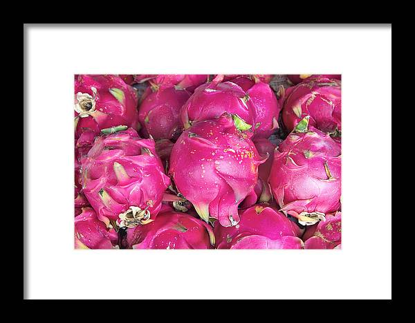 Dragon Framed Print featuring the photograph Dragon Fruit Closeup Background by Jit Lim