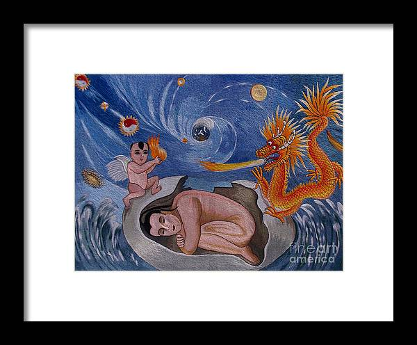 Dragon Framed Print featuring the tapestry - textile Dragon Hand Embroidery by To-Tam Gerwe