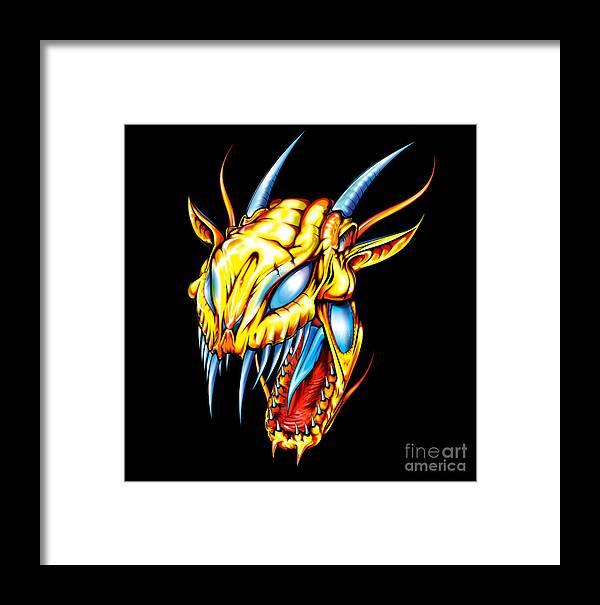 Dragon Framed Print featuring the digital art Dragon Head by Brian Gibbs