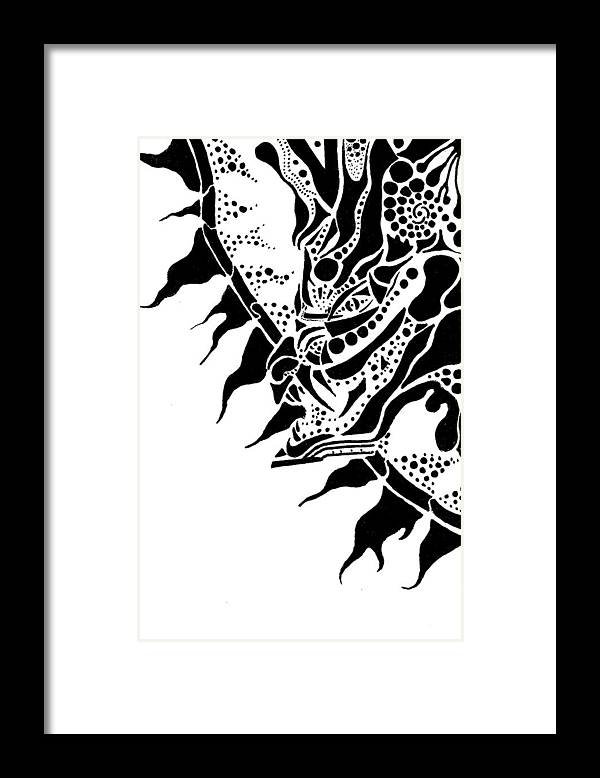 Abstract Framed Print featuring the drawing Dragon Sun by Joseph Churchill