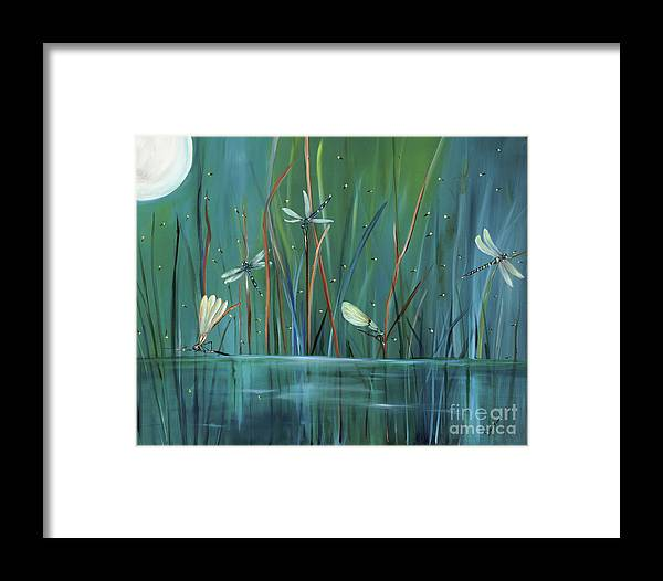 Dragonfly Framed Print featuring the painting Dragonfly Diner by Carol Sweetwood