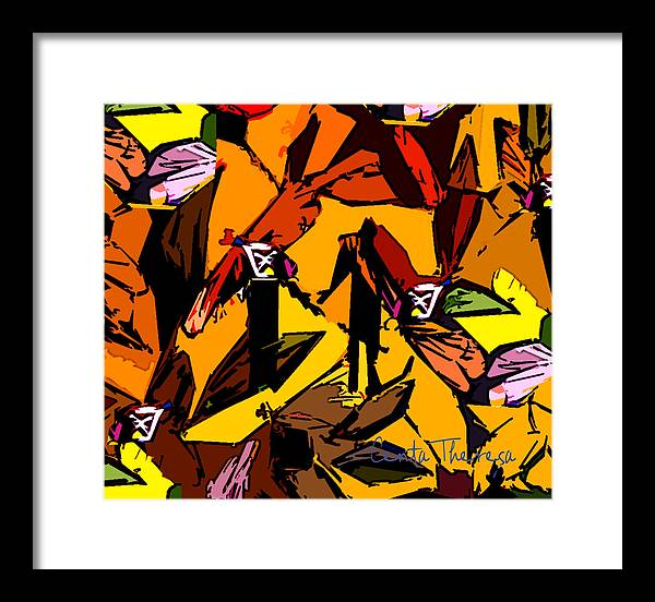 Drangonfly Men Motif Framed Print featuring the painting Dragonfly Man  by Centa Theresa Uhalde