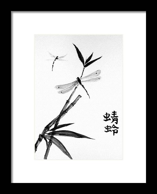 Sumi-e Framed Print featuring the painting Dragonfly by Sibby S