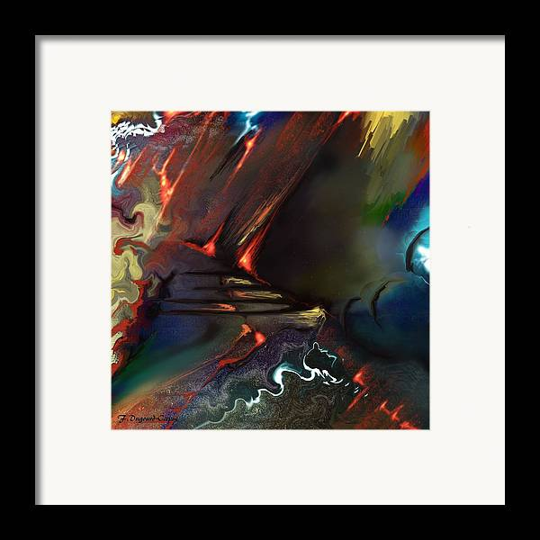 Abstract Framed Print featuring the painting Dragonland by Francoise Dugourd-Caput