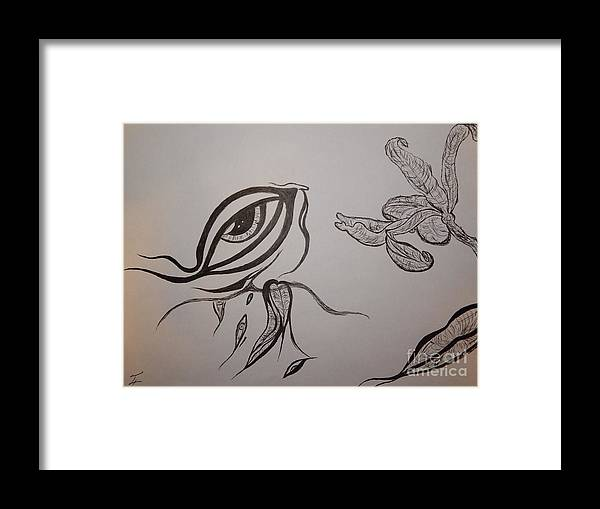 Drained Framed Print featuring the drawing Drained By The Bloom by Thommy McCorkle