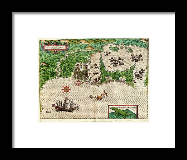 Battle Of Cartagena De Indias Framed Print featuring the photograph Drake's Attack On Cartagena by Library Of Congress, Rare Book And Special Collections Division