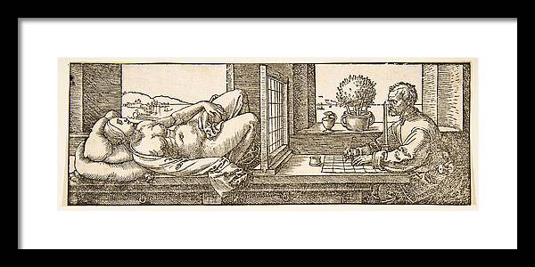 Albrecht Duerer Framed Print featuring the drawing Draughtsman Making A Perspective Drawing Of A Reclining Woman by Albrecht Duerer
