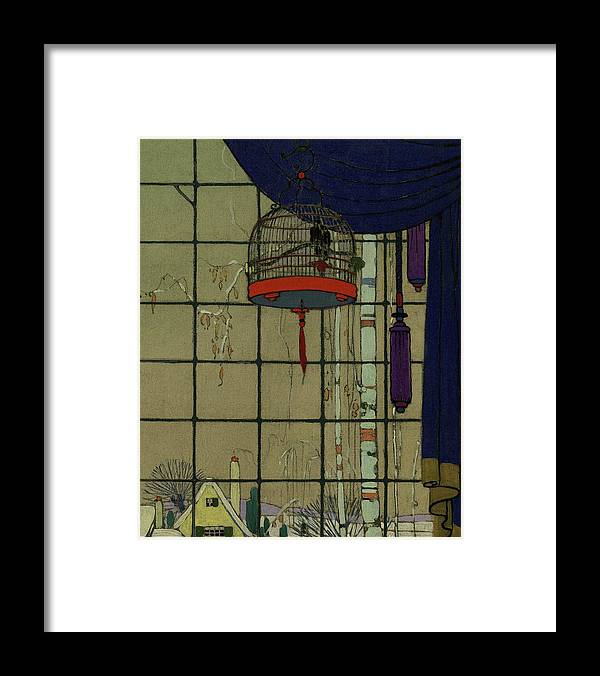 Animal Framed Print featuring the digital art Drawing Of A Bid In A Cage In Front Of A Window by H. George Brandt