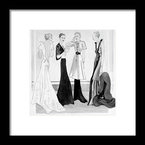 Fashion Framed Print featuring the digital art Drawing Of Four Well-dressed Women by Eduardo Garcia Benito