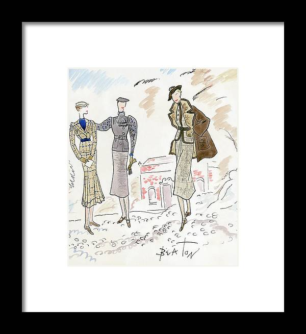 Fashion Framed Print featuring the digital art Drawing Of Women In Stylish Designer Outfits by Cecil Beaton