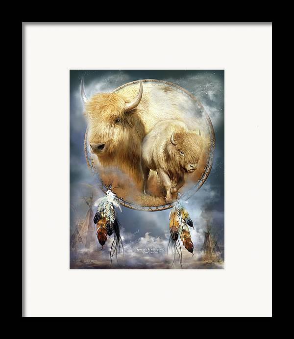 Carol Cavalaris Framed Print featuring the mixed media Dream Catcher - Spirit Of The White Buffalo by Carol Cavalaris