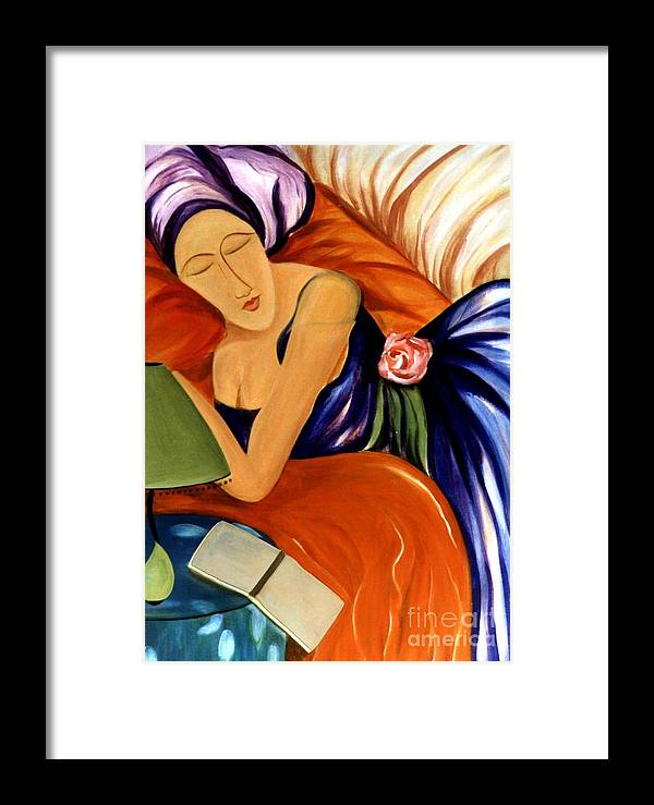 #female Framed Print featuring the painting Dream by Jacquelinemari