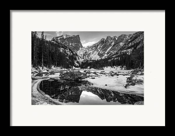 Colorado Framed Print featuring the photograph Dream Lake Reflection Black And White by Aaron Spong