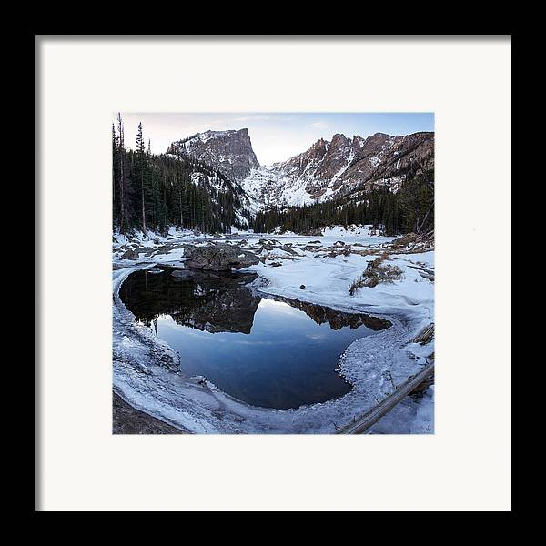 Colorado Framed Print featuring the photograph Dream Lake Reflection Square Format by Aaron Spong
