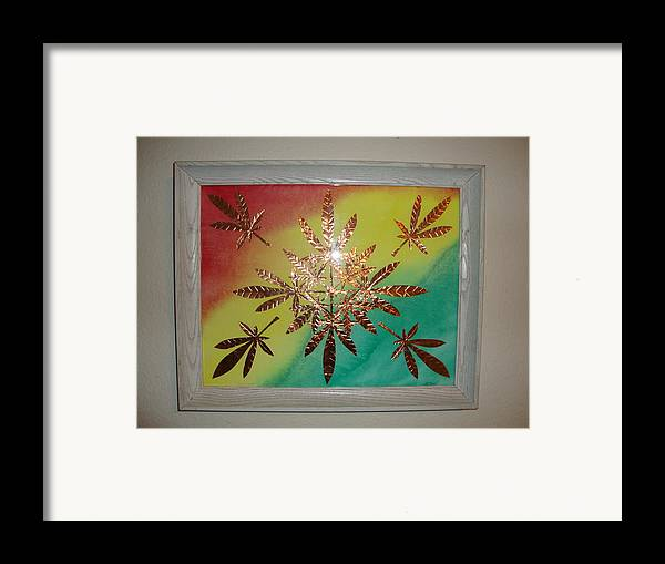 Red Framed Print featuring the mixed media Dream Leaves One by Scott Faucett