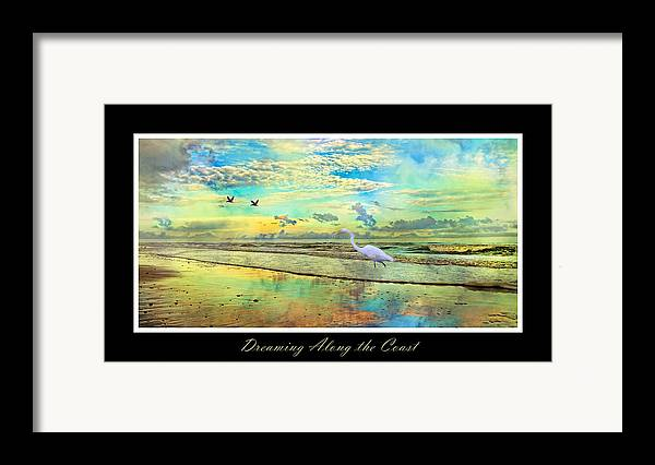 Topsail Framed Print featuring the digital art Dreaming Along The Coast -- Egret by Betsy Knapp