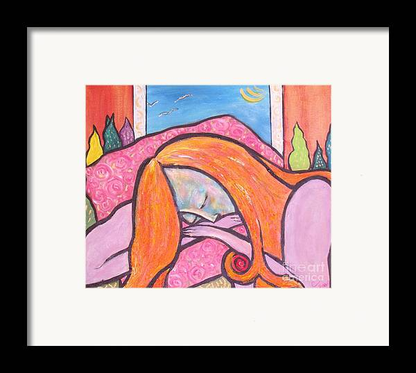 Woman Framed Print featuring the painting Dreamscape by Chaline Ouellet