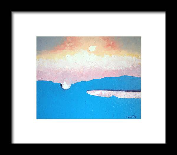 Maine Abstract Landscape Original Oil Paintings Art Framed Print featuring the painting Dreamscape Vi by Laura Tasheiko