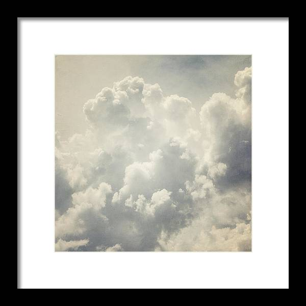 Clouds Framed Print featuring the photograph Dreamy Clouds In Shades Of Grey And Slate Blue by Lisa Russo