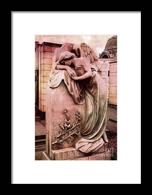Angel Framed Print featuring the photograph Dreamy Surreal Beautiful Angel Art Photograph - Angel Mourning Weeping At Gravestone by Kathy Fornal