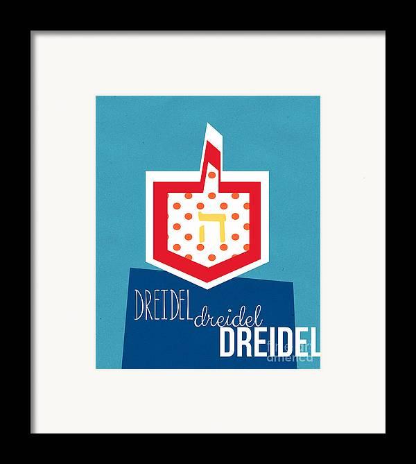 Dreidel Framed Print featuring the mixed media Dreidels by Linda Woods