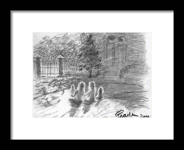 Charcoal Framed Print featuring the drawing Drenched In Sunlight by Horacio Prada