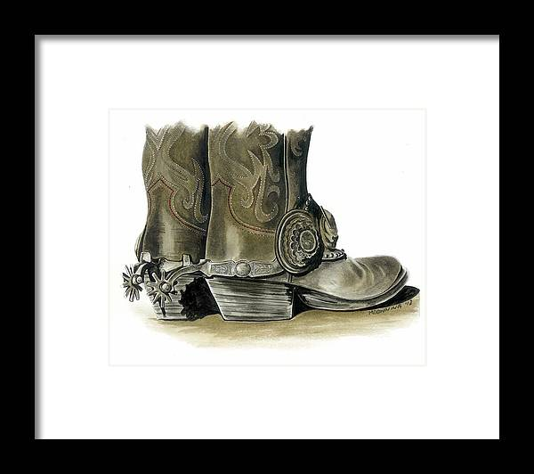 Original Western Art Framed Print featuring the painting Dress Boots by Marie Downing