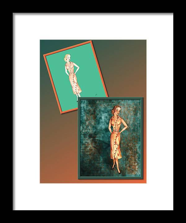 Fashion Framed Print featuring the drawing Dress Design 18 by Judi Quelland