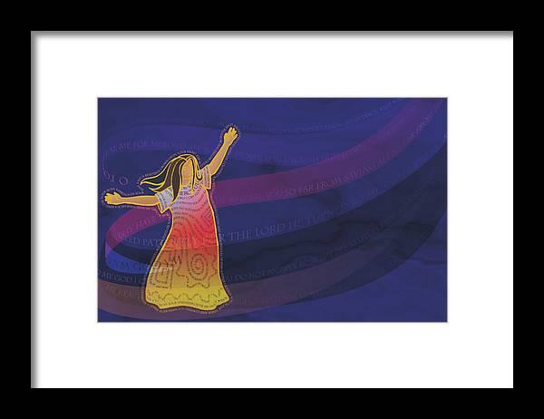 Woman Framed Print featuring the digital art Dress Full Of Prayers by Merrill Miller