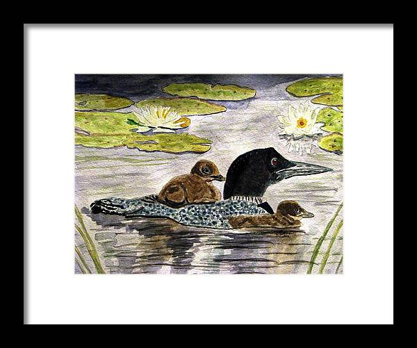 Loons Framed Print featuring the painting Drifting Among The Waterlilies by Angela Davies