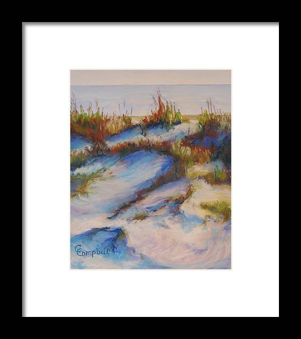 Beach Dunes Framed Print featuring the painting Drifting Dunes by Cecelia Campbell