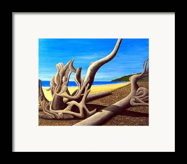 Landscape Artwork Framed Print featuring the painting Driftwood - Nature's Artwork by Frederic Kohli