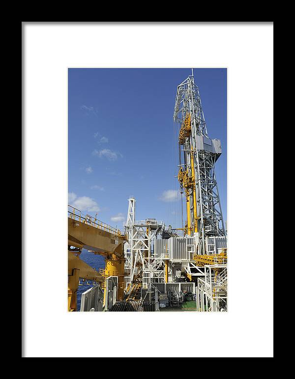 Oil Rig Framed Print featuring the photograph Drillship Deck And Tower by Bradford Martin