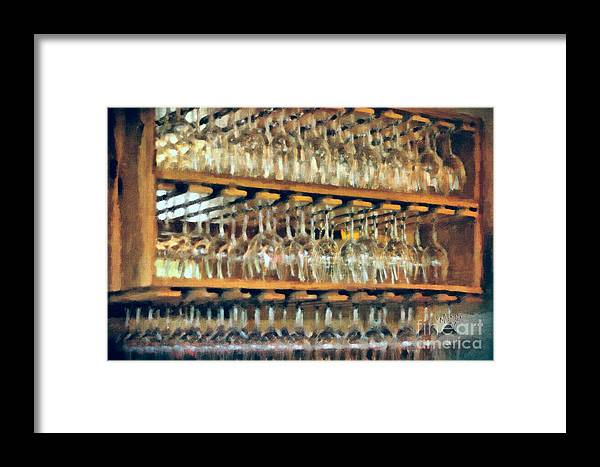 Wine Framed Print featuring the photograph Drinks On The House In Smoky Gold by Lois Bryan