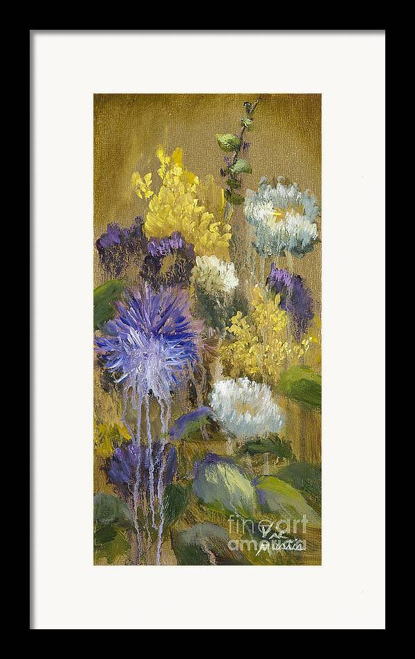 Flower Framed Print featuring the painting Drippy Bouquet With Gold Leaf By Vic Mastis by Vic Mastis