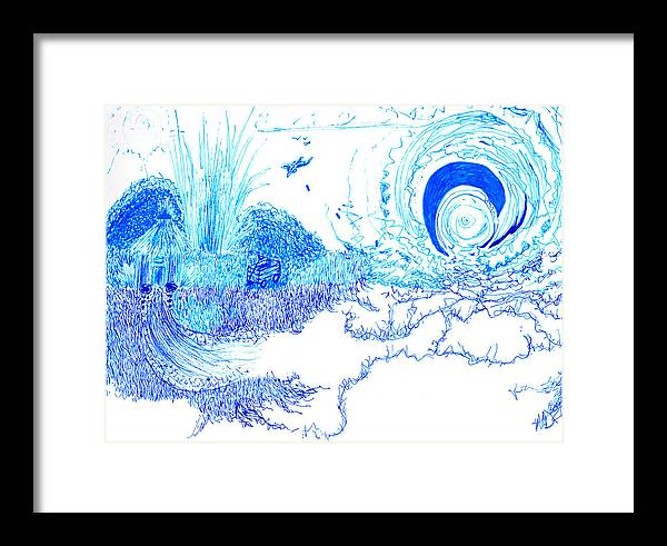 Blue Framed Print featuring the drawing Drop The Bomb Son by Nicole DePreker