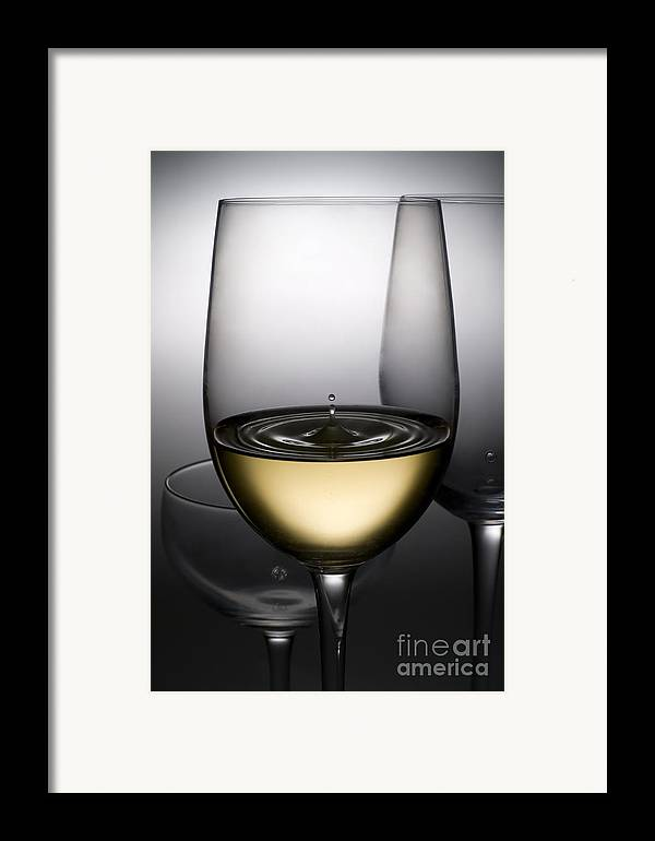 Abstract Framed Print featuring the photograph Drops Of Wine In Wine Glasses by Setsiri Silapasuwanchai