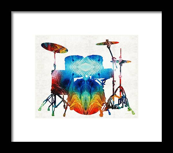 Drum Framed Print featuring the painting Drum Set Art - Color Fusion Drums - By Sharon Cummings by Sharon Cummings