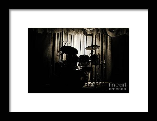 On Stage Framed Print featuring the photograph Drum Set On Stage Photograph Combo Jazz Sepia 3234.01 by M K Miller