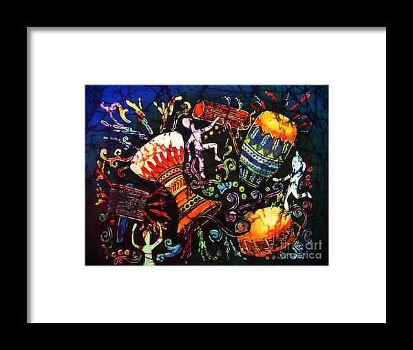 Drums Framed Print featuring the painting Drumbeat by Sue Duda