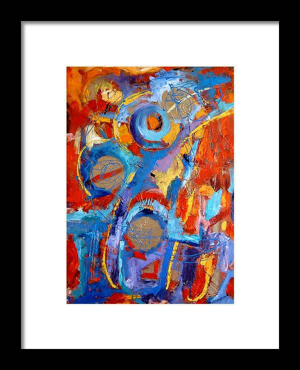 Abstract Framed Print featuring the painting Drumul Stelelor by Elena Bissinger