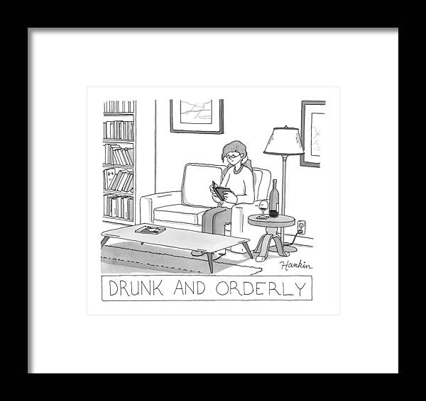 Captionless Framed Print featuring the drawing Drunk And Orderly -- A Woman Reads A Book by Charlie Hankin