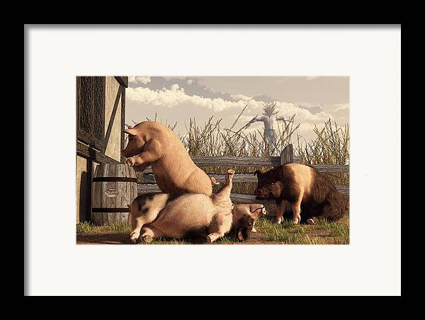 Pig Art Framed Print featuring the digital art Drunken Pigs by Daniel Eskridge