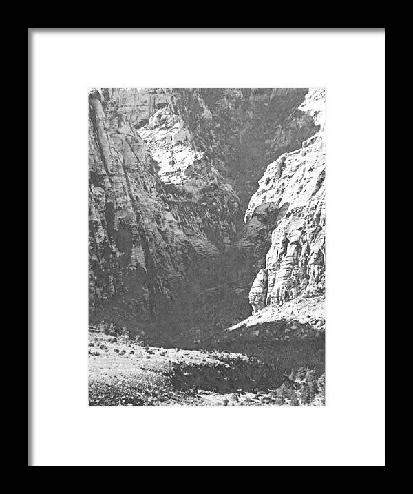 Frank Wilson Framed Print featuring the photograph Dry Desert Waterfall Pencil Rendering by Frank Wilson