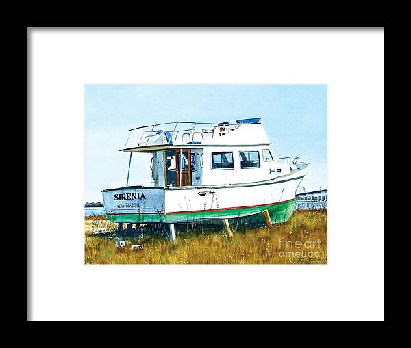 Watercolor Painting Of A Cabin Cruiser In Need Of Repair. The Boat Is Sitting In A Boatyard In Biloxi Mississippi. The Boat Name Is Sirenia From Vero Beach Florida. Framed Print featuring the painting Dry Docked Cabin Cruiser by Rick Mock
