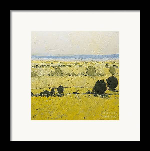 Landscape Framed Print featuring the painting Dry Grass by Allan P Friedlander